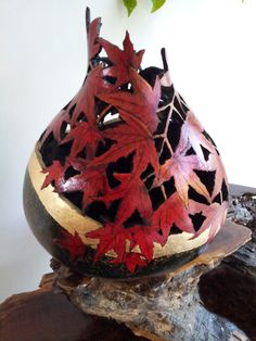 Work of art: Red Maple Gourd Sculpture ...... Perfect for Autumn Decor in the cabin.