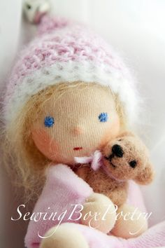 "Waldorf inspired Baby Doll - ""I love my Teddy Bear"" -"