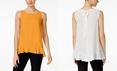 I like this mango yellow or mandarin color. Flowy material and different style at the back