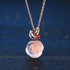 Unique Rose Gemstone Flower Necklace