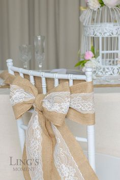 "Burlap Chair Sash with Lace 6""x94"" Stitched Edge -Pew Bows- Shabby Chic Wedding Decor-Rustic Wedding Chair Sashes  SHJ001-WHT"