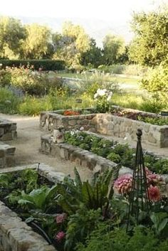 Raised beds of local Ojai stone grow organic vegetables, herbs and berries. Ted and Mary inherited the vegetable garden from the property's prior owner, a chef. They have since added a 15-foot-square pea patch to grow more edibles.