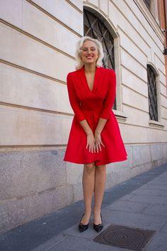 6f40e1789d Vestido Rojo Manga Larga. Vestido Rojo Manga Larga - Kilombo Vintage - Moda  Vintage Madrid