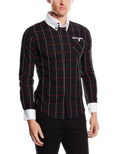 a30b39f82c Doublju Mens Plaid Slim Dress shirts BLACK (US-S)