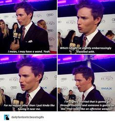 Eddie Redmayne - The Harry Potter actors were able to take some stuff with them from set, like wands and such. Were you guys able to take anything from set?