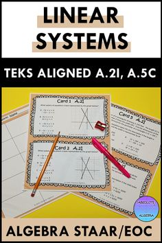 Help your middle or high school students conquer the Algebra I STAAR/EOC with these TEK aligned task cards. They are broken down by readiness and supporting standards for focused test prep with differentiation. They are multiple choice and can be used for many different activities like games, starters, exit tickets, and math centers to keep your students motivated. You can also use them for intervention and enrichment in small groups. Includes linear systems TEKS A.2I and A.5C #Algebra TEKS Math Resources, Math Activities, Math Centers, Math Stations, Linear System, Maths Algebra, Secondary Math, Exit Tickets, School Motivation