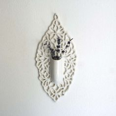 Square Carved Porcelain Lace Hanging Bud Vase by Isabelle Abramson Ceramics Available Work