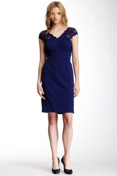 bb05e2127328 Adrianna Papell Lace Illusion Roke Crepe Dress by Assorted on  HauteLook  Adrianna Papell