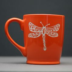 Dragonfly Circle and lines Etched Ceramic Coffee Mug, coffee gift, tea gift, tea mug, coworker gift, by GlassBlastedArt on Etsy https://www.etsy.com/listing/189857622/dragonfly-circle-and-lines-etched