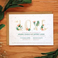 Because you love LOVE and want to watch it grow. These plantable seed paper invitations announce your wedding and give wildflowers.
