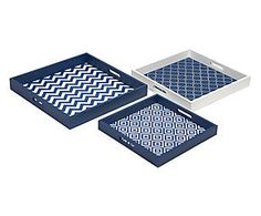 Tablett-Set Jim, 3-tlg., blau/weiß