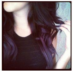 Brunette to Purple Dip Dye Ombré Hair