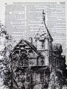 American Victorian House, ink drawing