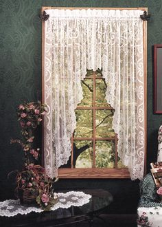 Heritage Lace English Ivy Lace Curtain Panels and Valances feature leaves and vines cascading through ornate grillwork and garden gates edged in lace. Swag Curtains, Shabby Chic Curtains, Farmhouse Curtains, Country Curtains, Lace Curtains, Kitchen Curtains, Window Curtains, Valance Window Treatments, Window Coverings