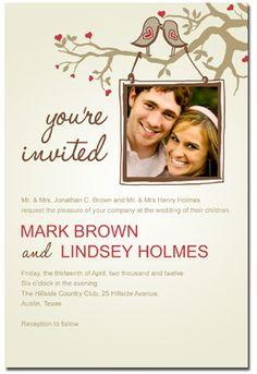 Beautiful Invitation - Lovebirds unique wedding invitations