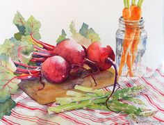 "Watercolor Vegetables | Third Place: Cecile Kirkpatrick for ""Beets, Carrots, and Asparagus ..."