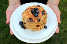 Blueberry Chocolate Chip Quinoa Pancakes via ambitiouskitchen.com