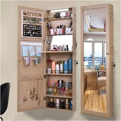 Wall Mounted Dressing Table, Dressing Table Mirror Design, Wardrobe With Dressing Table, Dressing Table Storage, Dressing Room Design, Full Length Mirror Dressing Table, Full Length Mirror With Storage, Bedroom Built In Wardrobe, Bedroom Closet Design