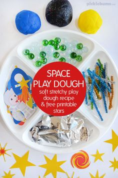 Try our soft stretchy space play dough recipe, and our free printable star accessories, plus more space themed play dough ideas! Space Activities For Kids, Space Preschool, Crafts For Kids, Children Crafts, Toddler Crafts, Playdough Activities, Infant Activities, Montessori Activities, Play Based Learning