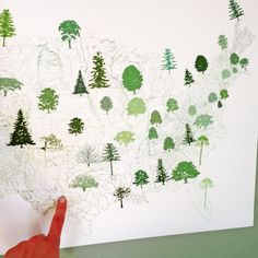 AMERICAN TREE SCAPE Map Drawing 17x24 Print by turnofthecenturies