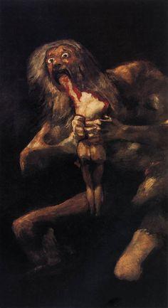 """Die alten Mythen erklärten weder die Welt, noch fällten sie moralische Urteile. Sie bewirkten vielmehr Beruhigung, ließen die Menschen aufatmen und eröffneten Spielräume. Mythen erzählten davon, welche Schreckensgestalten die Welt bereits hinter sich gelassen hat. Nicht die Unmittelbarkeit der Schrecken, sondern erst die sichere Distanz zu ihnen macht Sinn (Logos) – dies leistete vor aller Philosophie und Wissenschaft zunächst der Mythos.  Goya """"Saturn verschlingt eines seiner Kinder""""…"""