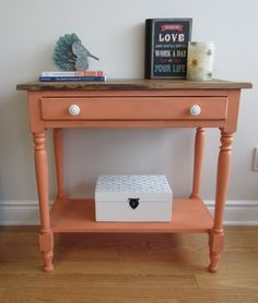 Sweet Chalk Paint coral table with reclaimed barn board top. Read about transformation on our blog!