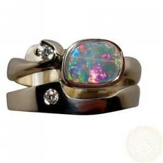 Custom » Made to Order » Superb Opal Diamond Engagement Wedding Ring ...