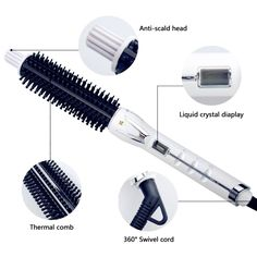 Hair Brush Iron, Hot Sticks Instant Heat Big Curl and Volume 1 inch Barrel White SH-8977T ** Insider's special review you can't miss. Read more  : Travel Hair care