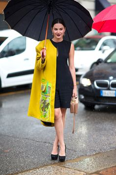 milano fashion week F/W 14- street style - yellow coat with black dress