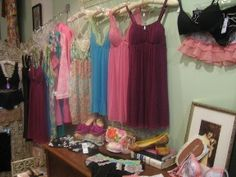 Bella Cose--another vintage clothes store/SF Vintage Clothing Stores, Pretty Lingerie, Vintage Outfits, Display, Summer Dresses, Clothes, Fashion, Cute Lingerie, Floor Space