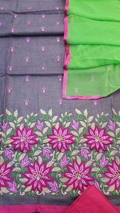 Designer Suit Length 3 Piece Gray Cotton $14.60