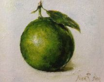 "Lime Jumbo Original Oil Painting Nina R.Aide Still Life Kitchen Art Small Daily Painting Home Wall Decor ""Jumbo Lime"""