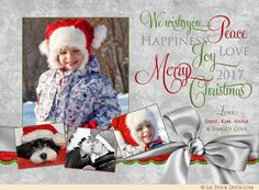 A wonderful Christmas celebration photo card sends your family's holiday joy in festive style! Celebrate the happiness of the season with up to 4 photos, custom wording and your favorite colors (the ribbon-like bow graphic can also be recolored). Christian Christmas Cards, Holiday Cards, Holiday Decor, Photo Boards, Favorite Color, Your Pet, Happiness, Joy, Peace