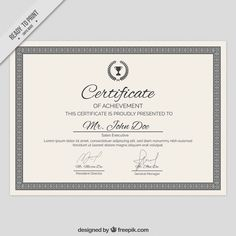 Diploma template with a ornamental frame Free Vector Certificate Design, Certificate Templates, Certificate Of Achievement, Lorem Ipsum, Vector Free, Graphic Design, Ornaments, Words, Frame