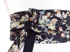 50f6a6429c7a Tissu Japonais, Ceinture a nouer, Obi, large, réversible, motif floral,