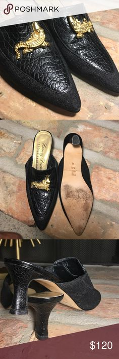 """Beverly Feldman Black Pointed Tow Leather Heels Love & Desire style leather and canvas combo with golden croc on top. Slide on Mules with a 2.5"""" Heels. Fantastic condition Beverly Feldman Shoes Mules & Clogs"""