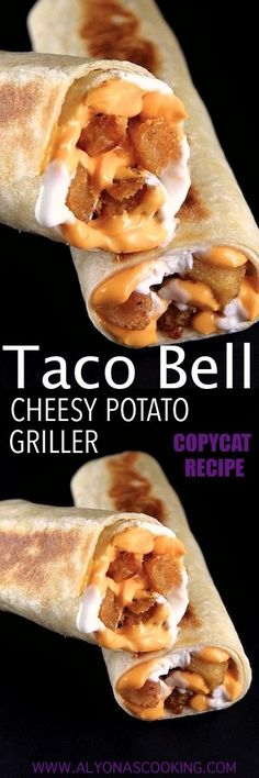 Taco Bell cheesy potato griller is filled with seasoned potato bites, cheese and sour cream. This copycat 3 ingredient filling is delicious! Taco Bell Recipes, Mexican Food Recipes, New Recipes, Cooking Recipes, Favorite Recipes, Budget Cooking, Vegetarian Cooking, Easy Cooking, Easy Recipes