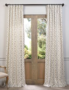Martinique Taupe Printed Cotton Curtain - SKU: PRCT-D07 at https://halfpricedrapes.com