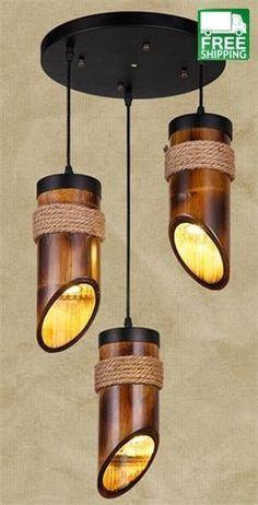 Get this Loft Style Hemp Rope Bamboo Tube Droplight LED Pendant Light Fixtures For Dining Room Hanging Lamp Rustic Light Fixtures, Rustic Lighting, Chandelier Lighting, Lighting Ideas, Lighting Design, Hallway Lighting, Bedroom Lighting, Asian Lighting, Funky Lighting