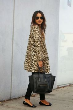 leopard print coat, black skinnies and black patent ballerinas and of course the black Celine Phantom