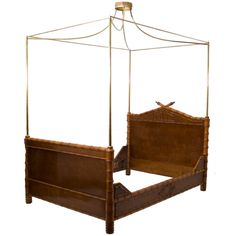 French c.1860, maple and faux bamboo with a brass canopy.  8ft 5in high.