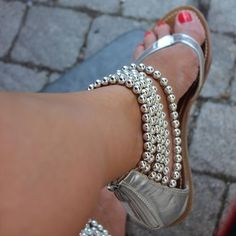 Shoespie Silver Beading Ankle Wrap Flat Sandals