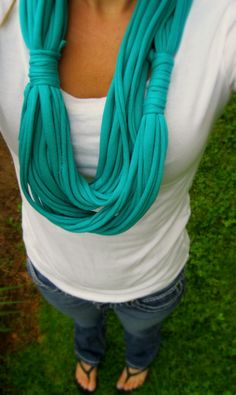 T shirt Scarf Infinity Scarves Aqua Blue Scarf by Scarvesbystephy, $18.00