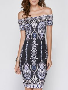 Alluring Short Sleeve Off-The-Shoulder Printed Women's Dress