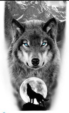 Viking Tattoo Sleeve, Animal Sleeve Tattoo, Best Sleeve Tattoos, Animal Tattoos, Artwork Lobo, Wolf Artwork, Wolf And Moon Tattoo, Wolf Moon, Wolf Photos