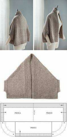 "Vest-poluponcho (patrón) / punto / ""Love this pattern! Adapt to sew, or your favorite knit or crochet stitch…"", ""nice easy shape with a nice warm result Gilet Crochet, Knitted Shawls, Crochet Shawl, Knit Crochet, Crochet Stitch, Easy Crochet, Tutorial Crochet, Beginner Crochet, Modern Crochet"