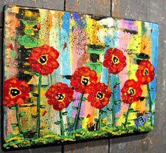 RED POPPiEs~FLOWER~ Maine FOLK ART outsider~COASTWALKER