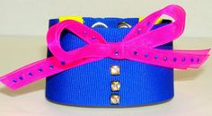 Items similar to Blue neon textile bracelet with rhinestone and a fuchsia bow. on Etsy Textiles, Bows, Neon, Trending Outfits, My Love, Unique Jewelry, Bracelets, Handmade Gifts, Accessories