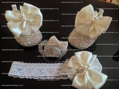 Ivory crystal baby shoes by CuteandChicBoutique on Etsy, $120.00