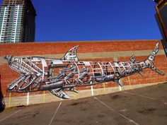 A Mechanical Shark Mural by Phlegm in San Diego